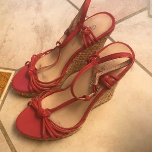 Wedge wicker and  Red Sandals